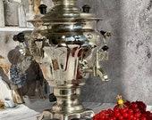 New Soviet Russian Vintage Samovar, Electric Teapot, Nickelplated Brass,USSR , 1975 , 220 v, 3 liters, Home Decor