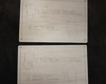 I Love You, I Know Star Wars - Laser Cut Wooden Valentine Postcard Sign