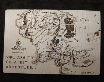 Middle Earth Map, You're My Greatest Adventure - Laser Cut Wooden Valentine Postcard Sign