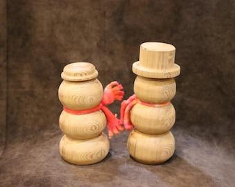 Mr. And Mrs. Wooden Snowman - Snowwoman