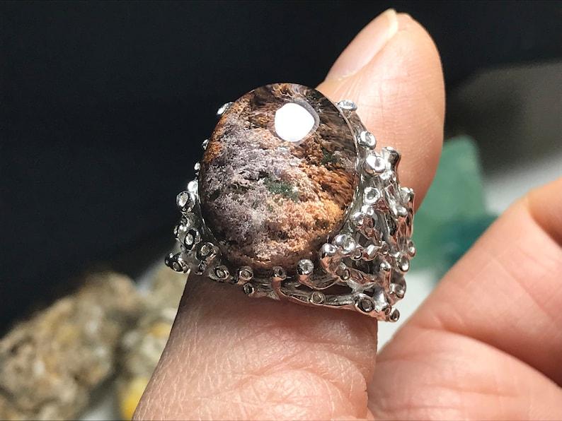 Finger Ring 0150 silver 925 Healing Reiki Energy,Men Natural color phantom Natural Quartz crystal