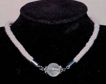 Elven kumihimo necklace with a crackle quartz bead, silver linen grey