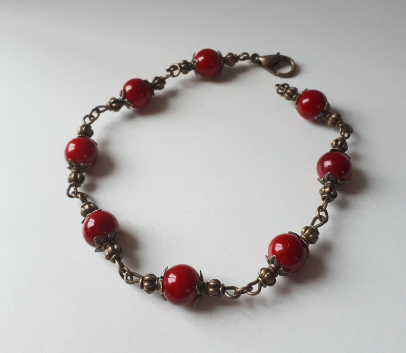 glass block arm jewelry Arm necklace bronze vintage ball red antique jewelry bracelet gift girlfriend