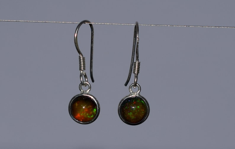 7 MM Round Natural Ethiopian Multi-Fire Opal With 925 Sterling Silver Dangle /& Drop Earrings Jewelry H-0529