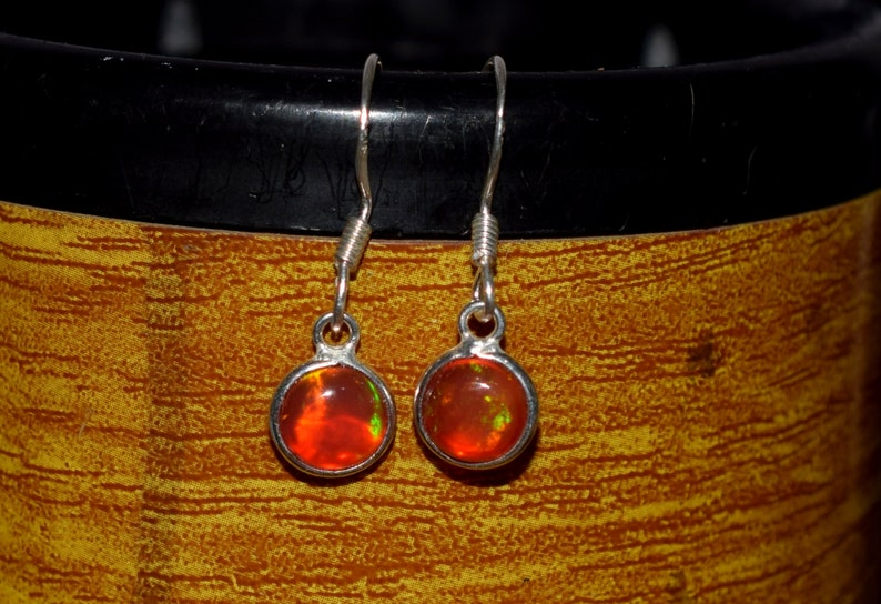 7 MM Round Natural Ethiopian Multi-Fire Opal With 925 Sterling Silver Dangle /& Drop Earrings Jewelry H-0528