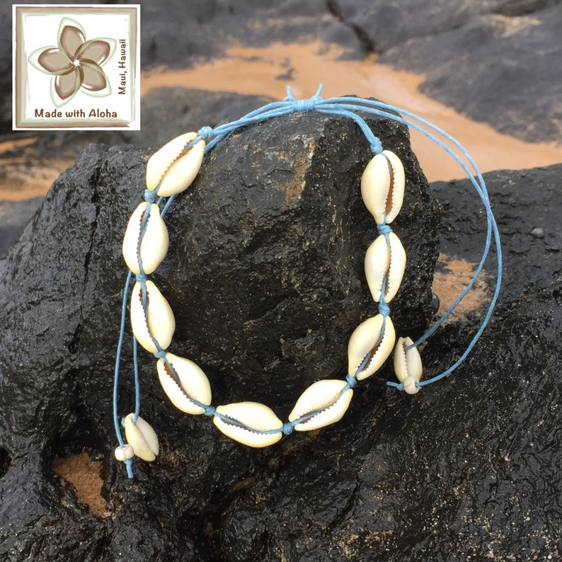 Surfer Style Beach Tropical Pretty Fashion Accessories ANKLET with Waxed Cord /& Natural Yellow Cowrie Shells Hawaiian Shell LT BLUE Cord
