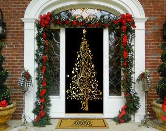 Golden Christmas Tree Door Decoration   Christmas Door Covers   Outdoor  Christmas Decorations   Front Door Decor   Door Cover   Home Decor
