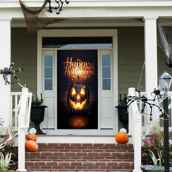 Halloween Pumpkin Door Decoration Door Decor Door Cover Door Postes Door Decor Ideas Front Door Decor Halloween Door Decoration