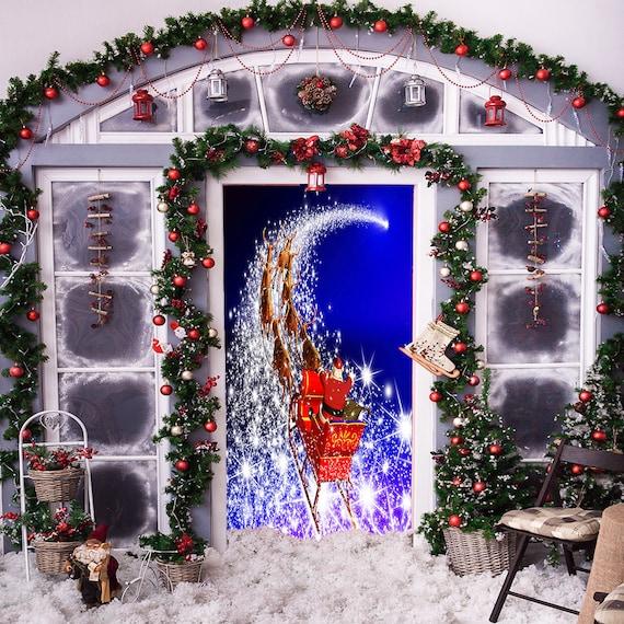 Christmas Door Covers.Magical Sleigh Door Decoration Christmas Door Covers Outdoor Christmas Decorations Front Door Decor Door Cover Home Decor