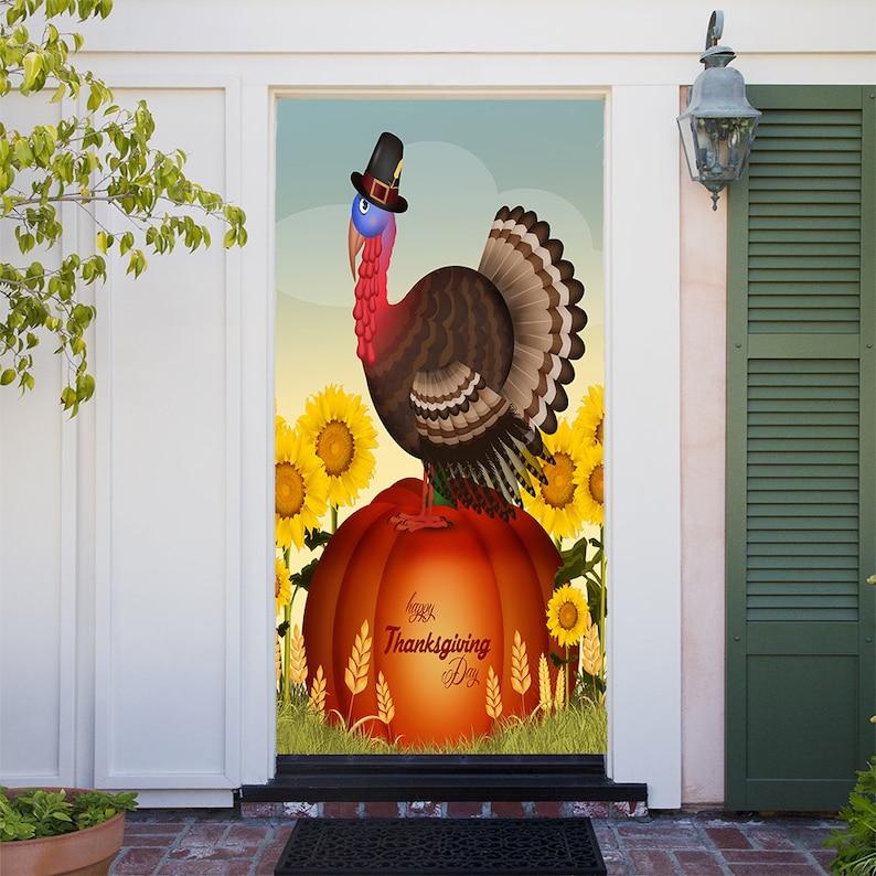 Turkey On Pumpkin Thanksgiving Door Cover