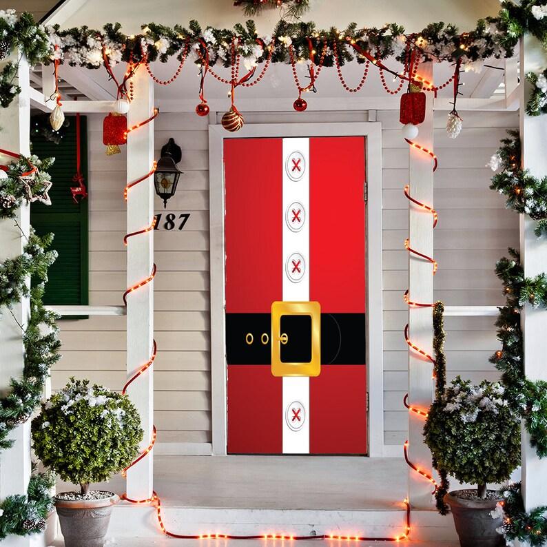 Christmas Door Covers.Santa S Belt Door Decoration Christmas Door Covers Outdoor Christmas Decorations Front Door Decor Door Cover Home Decor