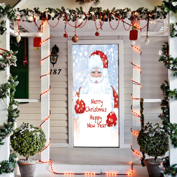 Santa Door Decoration Christmas Door Covers Santa Door Etsy