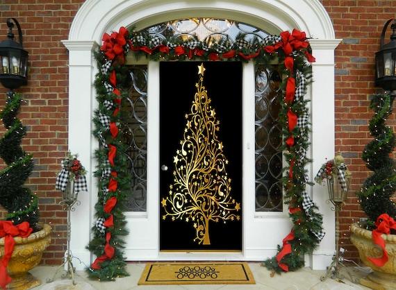 Christmas Door Covers.Golden Christmas Tree Door Decoration Christmas Door Covers Outdoor Christmas Decorations Front Door Decor Door Cover Home Decor