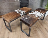 CUSTOM MADE BESPOKE Cowhide topped Steel bench ottoman seat 2 person - Handmade in England 100x 35cm