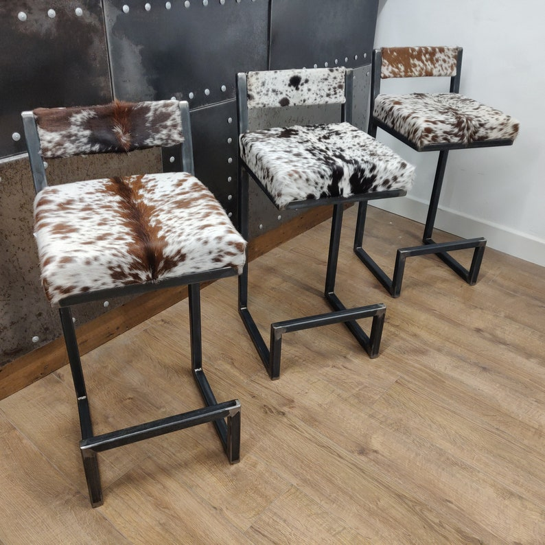 BESPOKE/ CUSTOM-MADE Cowhide topped Steel bar stools with image 0