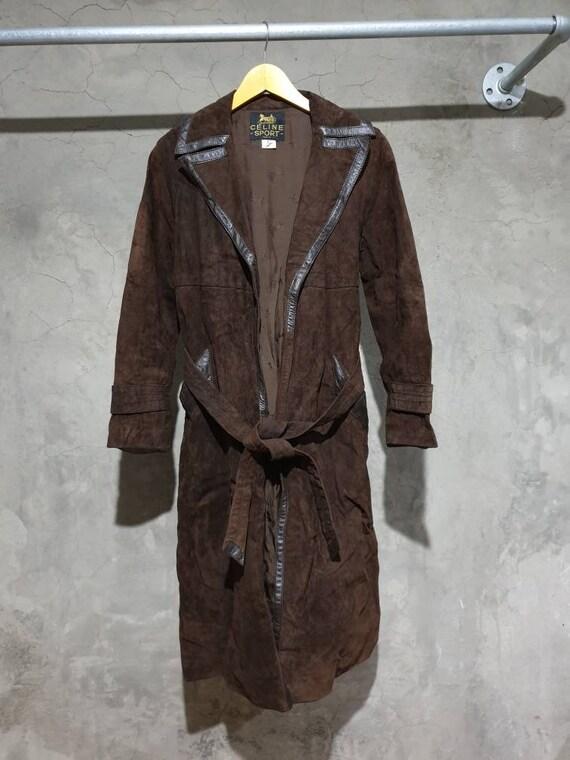 Vintage Celine Genuine Leather Nubuck coat jacket.