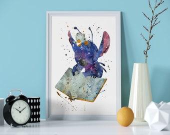 Lilo And Stitch Watercolor Art Print | Poster | Wall Art | Nursery Decor |  Gift Idea | Watercolor | Art | Disney