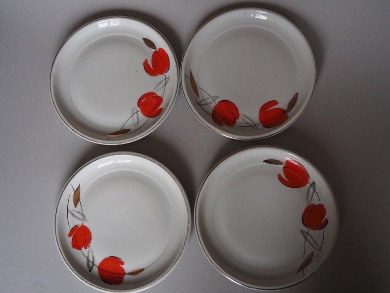 4 Vintage Frosted Dessert Plates