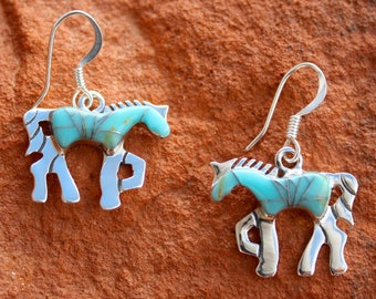 1bd2fb221f2b Native Turquoise Horse Inlay Earrings