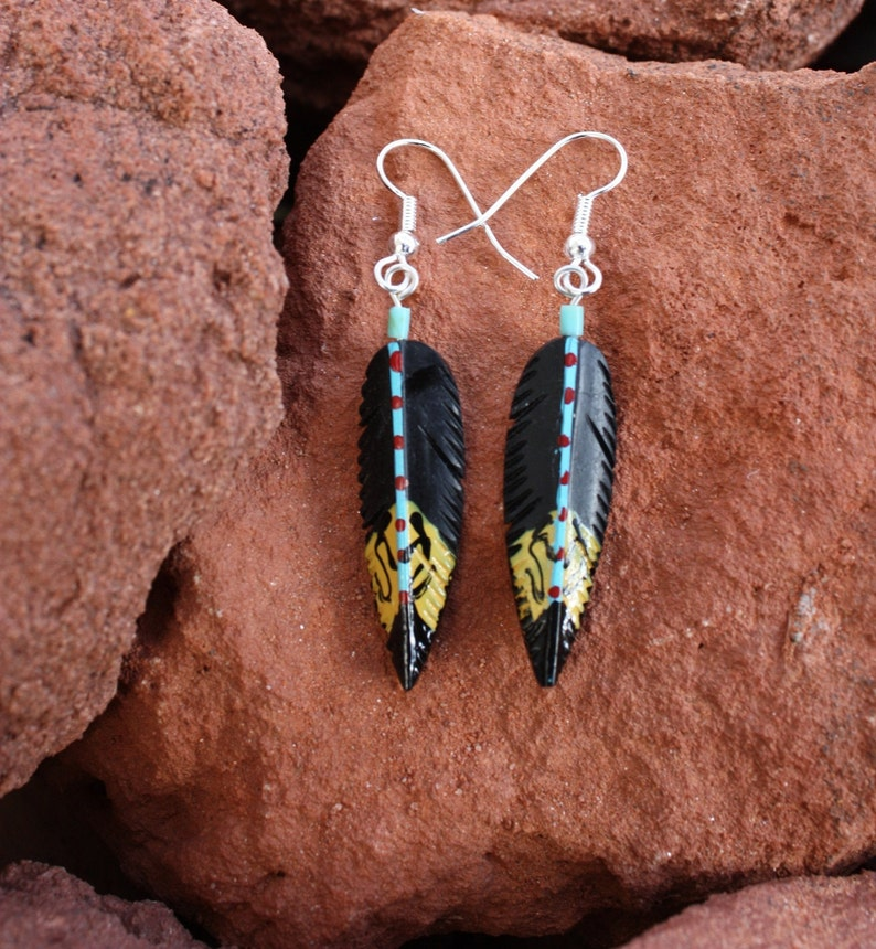 Painted Feathers Feather Earrings Hand Carved From Bone Etsy