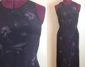 Size 8 Vintage 80s90s Dress Secretary Librarian Teacher Cottagecore Black Purple Teal Floral Long Sleeve Lace Collar