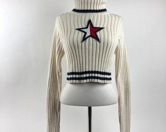 e9d97005e89f4e Tommy Hilfiger VTG 90s Womens M Sweater Flag Box Logo Star Cropped  Turtleneck