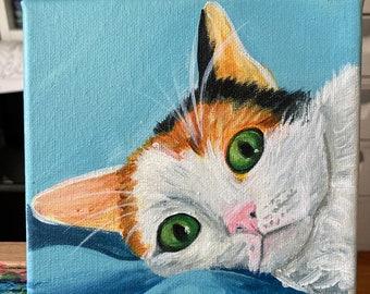 Acrylic on Canvas Custom Pet Portrait- Dogs Cats Birds Macaws Guinea Pigs Hedgehogs