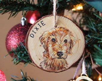 Pet Portrait Wood Slice Christmas Ornament
