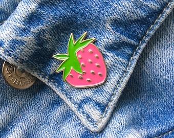 Strawberry Soft Enamel Pin- Fruit Enamel Pin- Fun Enamel Pin- Cute Pink Pin- gift for her