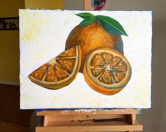 Orange Slice Colorful Original Painting