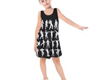 4160619ad14 Emote Dancers Floss Custom Sleeveless Dress - Choose Background Color -  Free Personalization - Sizes 2,3,4,5,6,7,8,10,12,14,16