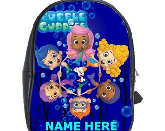 Bubble Guppies 100% Genuine Leather Backpack - Choose Background Color -  Free Personalization e393f88636d84