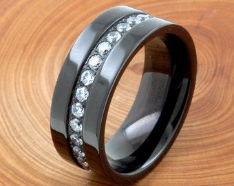 e5a80732ff 8mm Black CZ Titanium Ring, Flat Top Titanium Mens Wedding Band Ring, Round Cubic  Zirconia Titanium Band Ring, Men Promise Ring Engraved