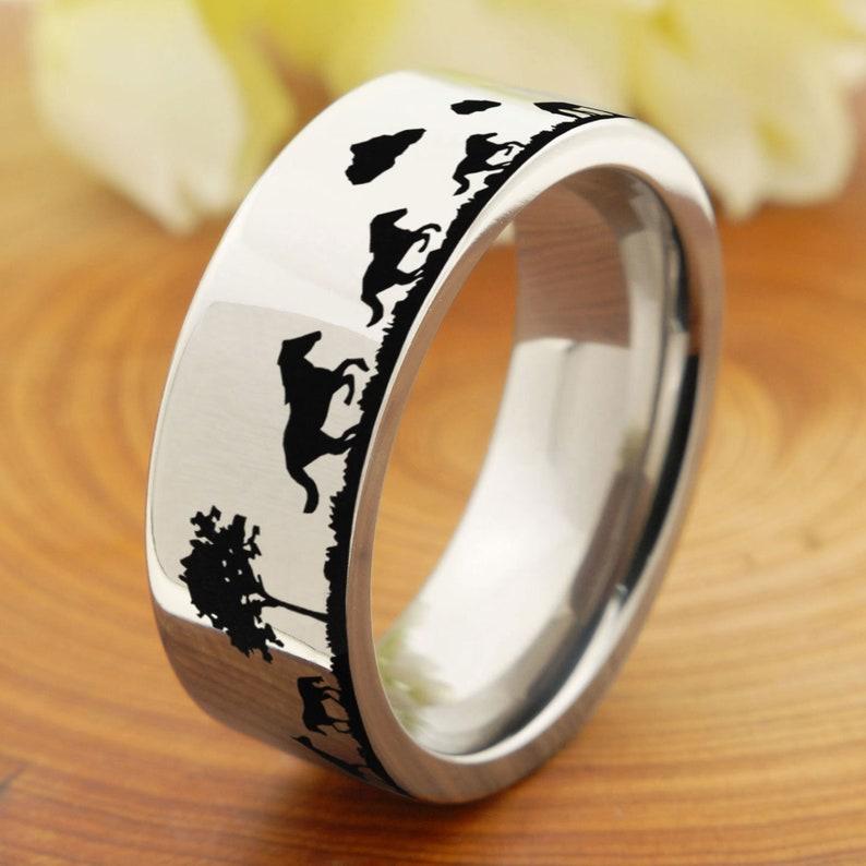 Titanium Wedding Band Mens Horse Store Landscape Pipe Cut Ring Titanium Mens Band Mens Promise Ring Black Titanium Engagement Ring