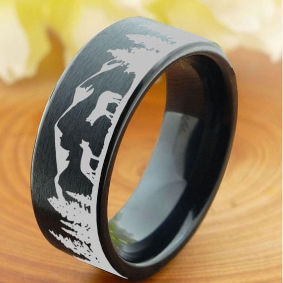 Two Foxes 8mm Titanium Ring Dome Black Titanium Ring Forest Mountains Landscape Titanium Wedding Band Mens Custom Laser Ring Engraved