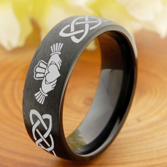 8mm Titanium Wedding Band Mens Promise Ring for Him Titanium Engagement Ring Celtic Irish Claddagh Titanium Engraved Ring