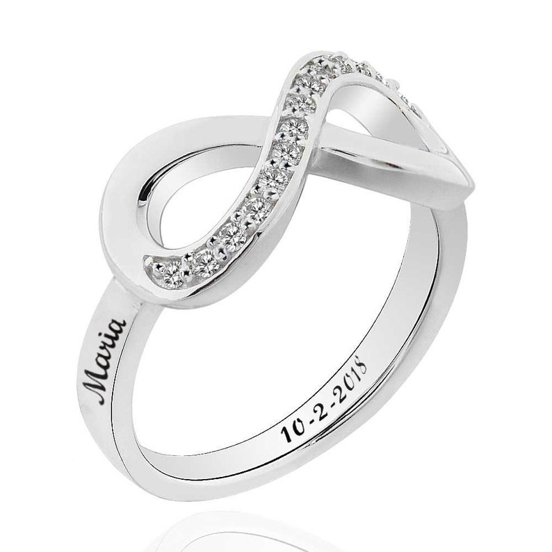 c7114731a3bc7 Personalized 3 Names Engraved Ring, Infinity Ring, 925 Sterling Silver CZ  Wedding Band Ring, Mom Ring, Personalized Name Engraved Ring