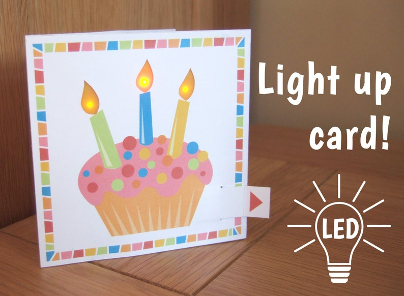 LED Light Up Birthday Card Cupcake With