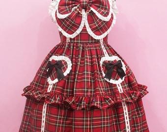 Custom size and colors- Old school Red Tartan Plaid Swete Classic Lolita fashion dress JSK