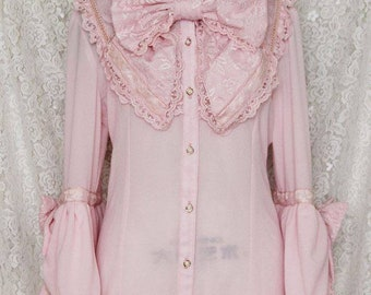 Custom size- Gothic Sweet Classic Lolita Rococo Princess Sleeves Lace Blouse&Neck Bow