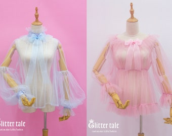 Custom size Gothic Sweet Lolita Rococo Ruffles mesh ribbon bow Blouse