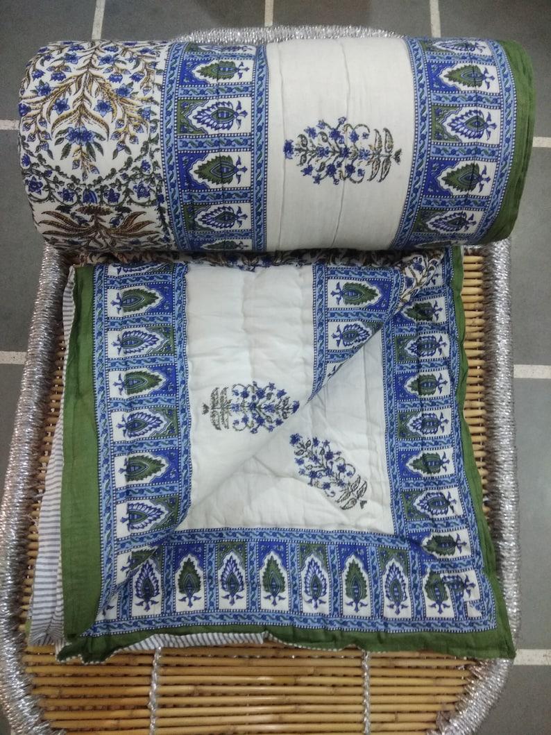New Palm Print Tree Kantha Quilt Handmade Blanket Throw Rajai Block PrintQuilt