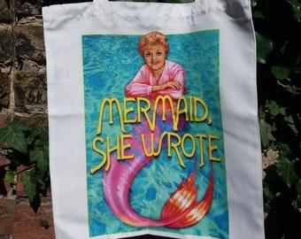 MERMAID SHE WROTE tote bag