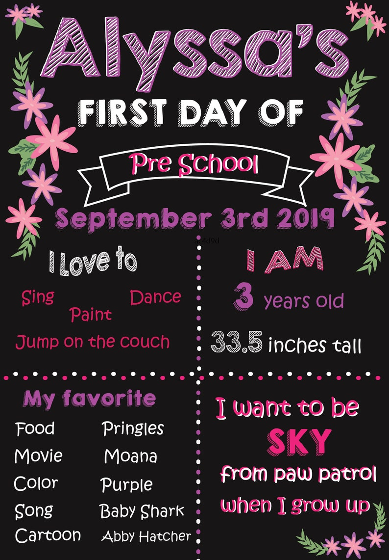 first day of school Printable back to school sign pink and purple chalk board preschool first day of school sign