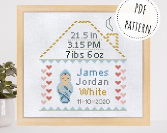 Personalized baby announcement cross stitch pattern Custom new mom baby shower gift Modern nursery décor