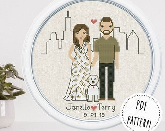 Dog parents custom 2nd anniversary gift Cross stitch couple portrait from photo 5th anniversary gift Family commission art