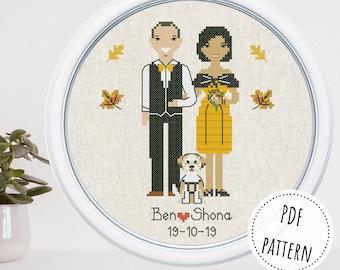 Personalized cotton anniversary gift for family Custom cross stitch cartoon portrait 4 year anniversary housewarming gift