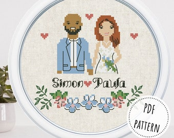 Custom cotton anniversary gift for wife 1 year anniversary gift for husband Wedding cross stitch bride and groom couple portrait