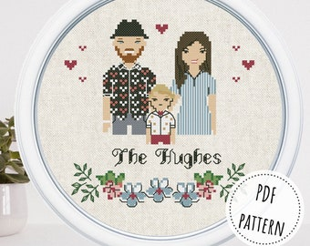 Personalized family modern cross stitch pattern Simple funny wedding couple portrait 2nd anniversary gift