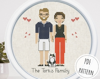Custom family portrait with pet Personalized cross stitch pattern Cotton anniversary gift for wife